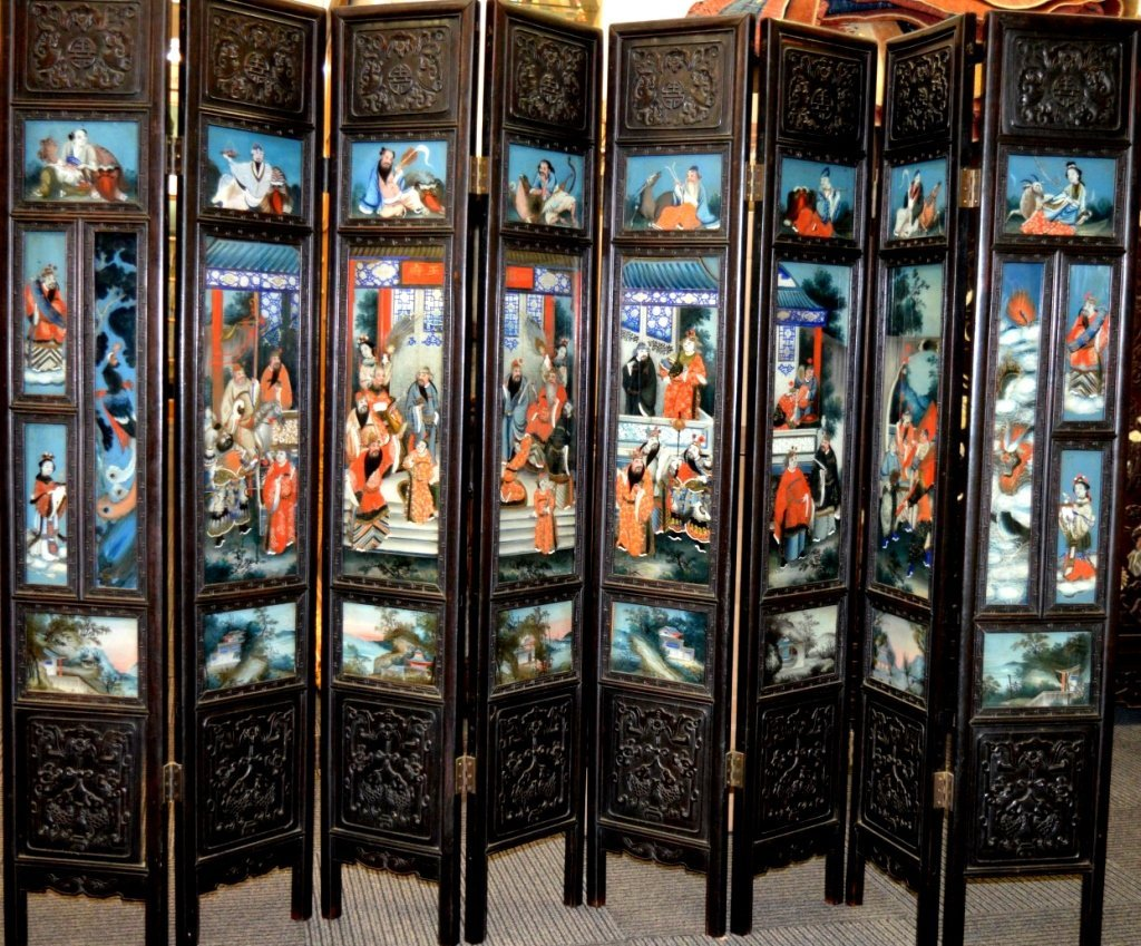 Rare 8 Panel Chinese Reverse Glass Painted Screen