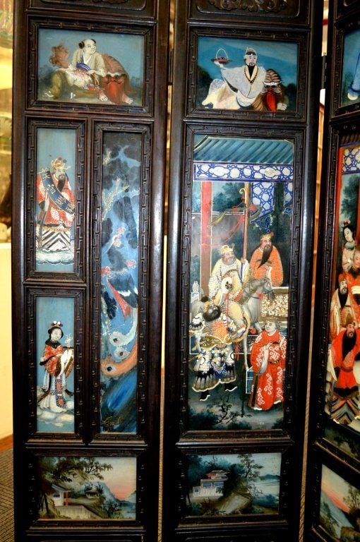 Rare 8 Panel Chinese Reverse Glass Painted Screen - 2