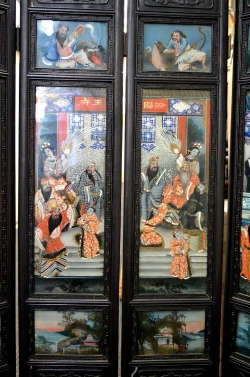 Rare 8 Panel Chinese Reverse Glass Painted Screen - 3