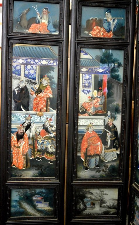 Rare 8 Panel Chinese Reverse Glass Painted Screen - 4