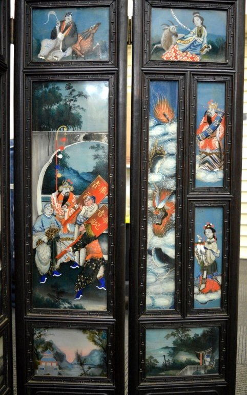 Rare 8 Panel Chinese Reverse Glass Painted Screen - 5