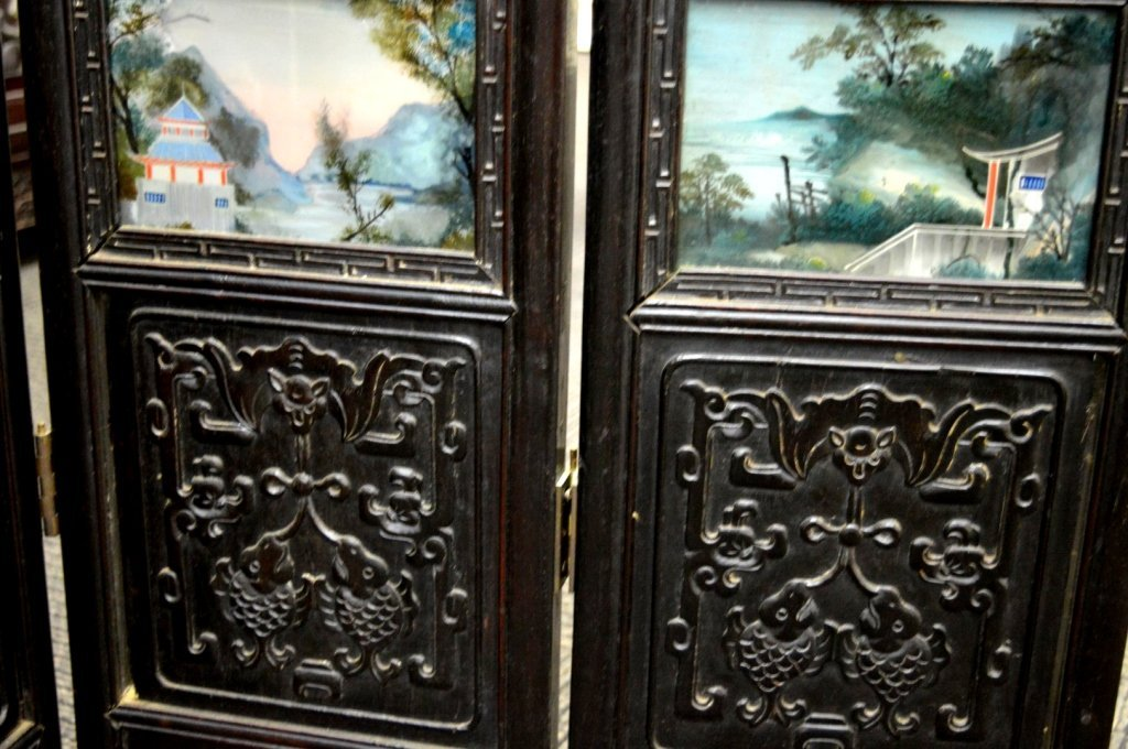 Rare 8 Panel Chinese Reverse Glass Painted Screen - 7