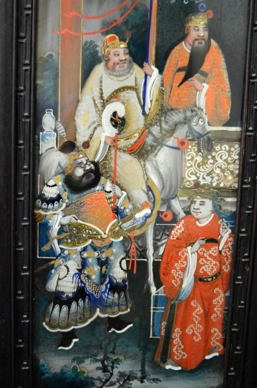 Rare 8 Panel Chinese Reverse Glass Painted Screen - 8