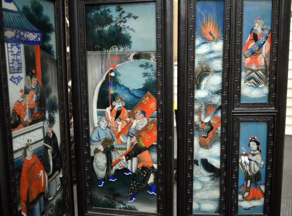 Rare 8 Panel Chinese Reverse Glass Painted Screen - 9