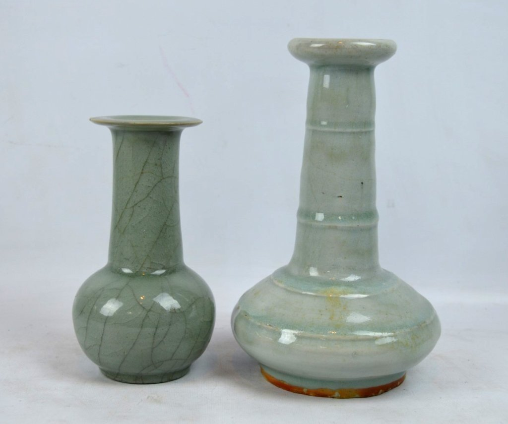 2 - Antique Chinese Celadon Porcelain Vases