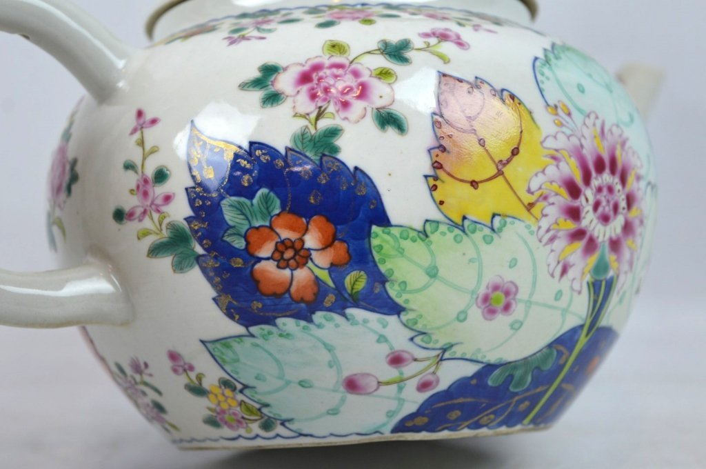 "Large 19C Chinese ""Tobacco-Leaf"" Porcelain Teapot - 3"