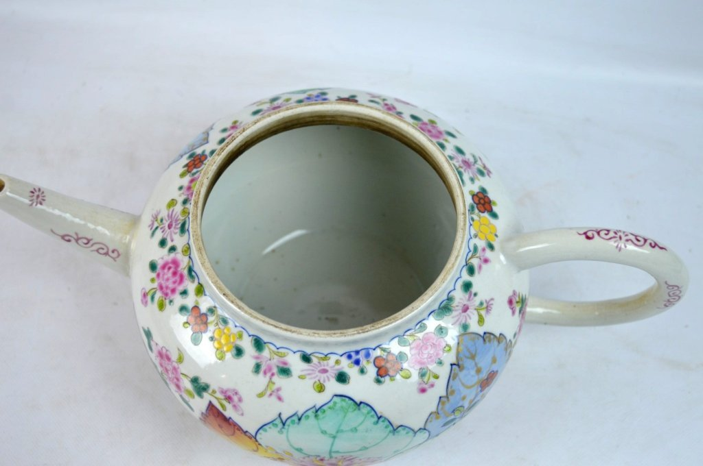 "Large 19C Chinese ""Tobacco-Leaf"" Porcelain Teapot - 7"