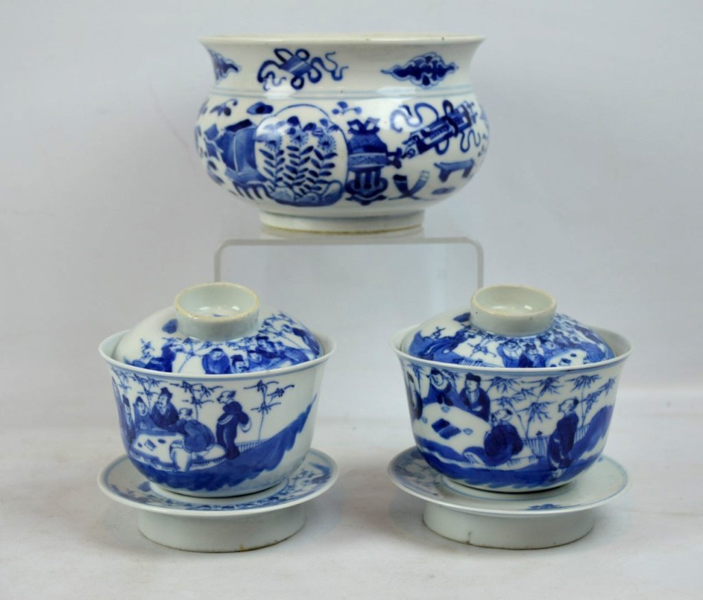 3 - 19th C Chinese Underglaze Blue Porcelains