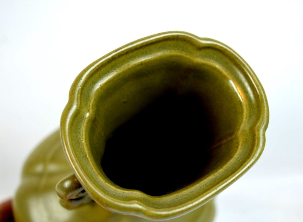 """19thC Chinese """"Teadust"""" Glazed Double Handled Vase - 6"""