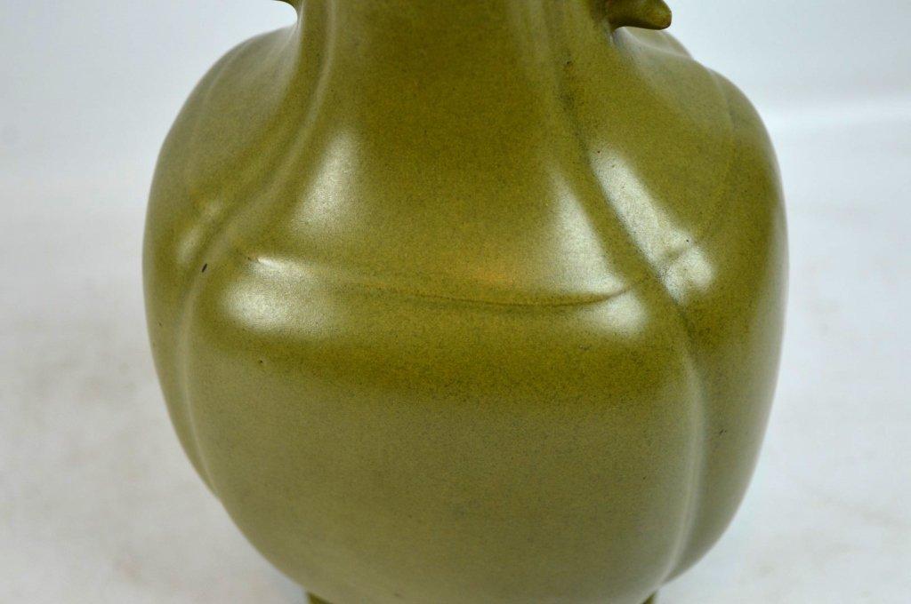"""19thC Chinese """"Teadust"""" Glazed Double Handled Vase - 7"""