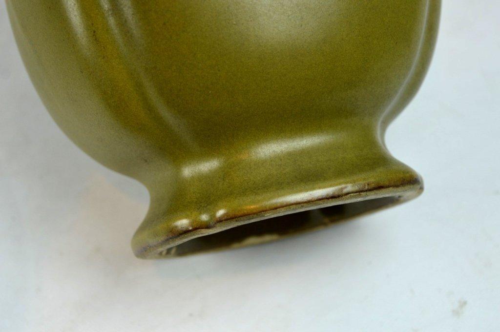 """19thC Chinese """"Teadust"""" Glazed Double Handled Vase - 8"""