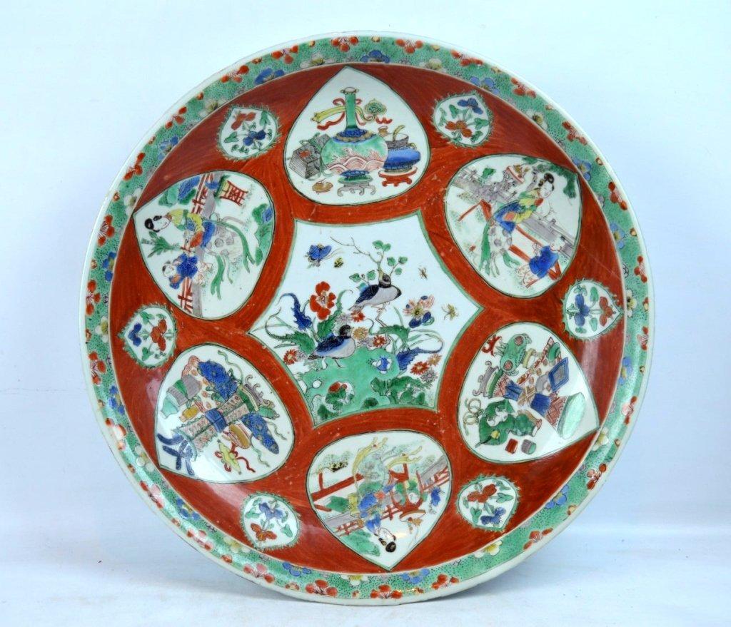 Large Chinese Kangxi Enameled Porcelain Charger