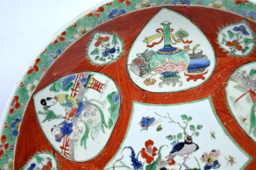 Large Chinese Kangxi Enameled Porcelain Charger - 3