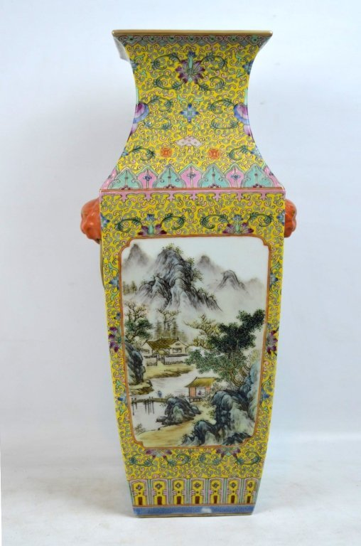 Chinese Yellow Enameled Porcelain 4-Sided Vase