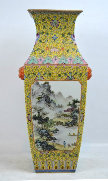 Chinese Yellow Enameled Porcelain 4-Sided Vase - 2