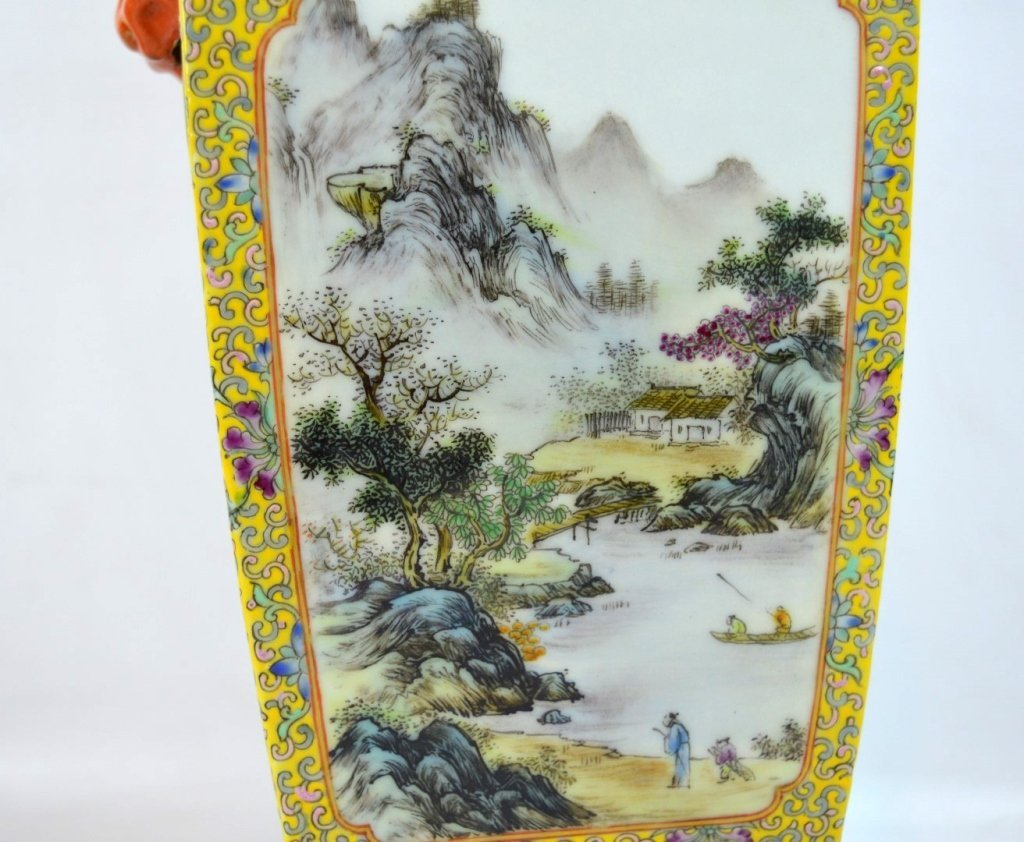 Chinese Yellow Enameled Porcelain 4-Sided Vase - 4