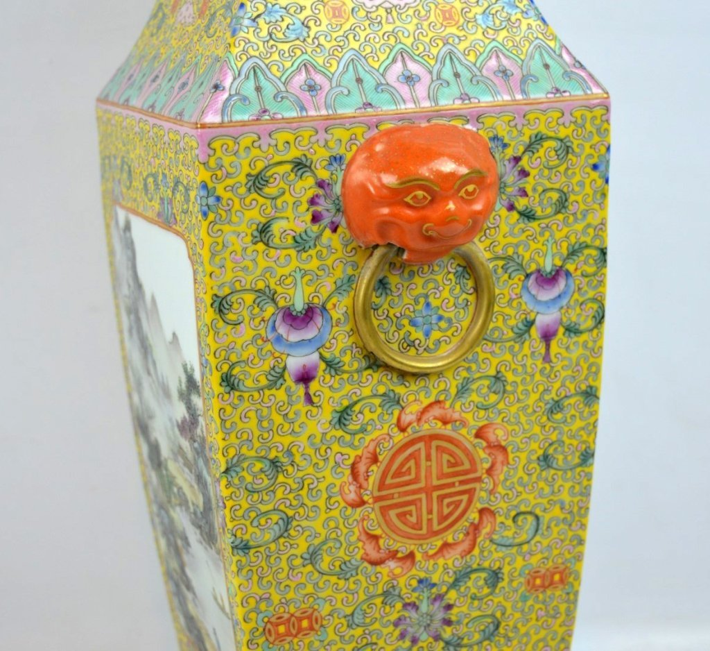 Chinese Yellow Enameled Porcelain 4-Sided Vase - 6