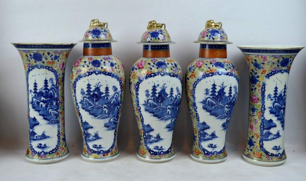 19thC Chinese Export 5-Piece Porcelain Garniture