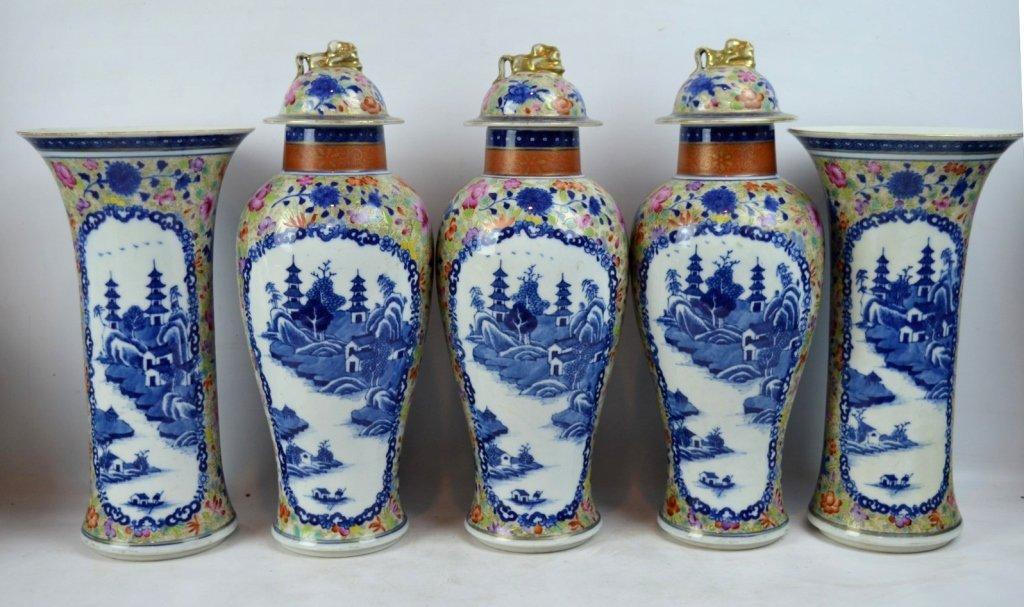 19thC Chinese Export 5-Piece Porcelain Garniture - 2
