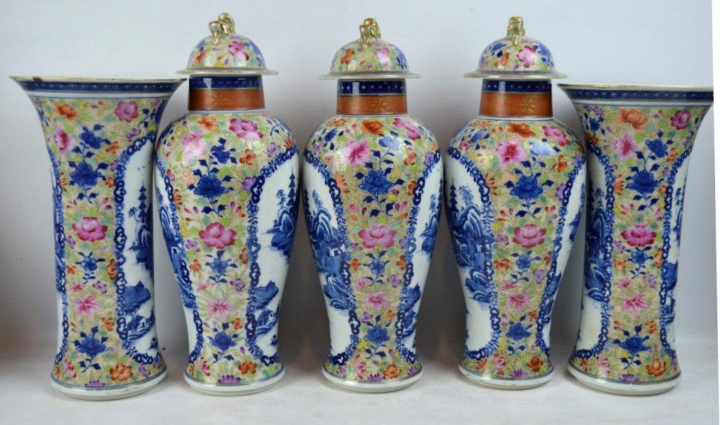 19thC Chinese Export 5-Piece Porcelain Garniture - 3