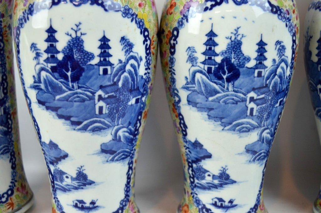 19thC Chinese Export 5-Piece Porcelain Garniture - 4