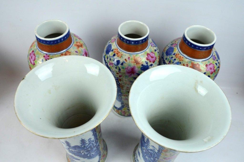 19thC Chinese Export 5-Piece Porcelain Garniture - 7