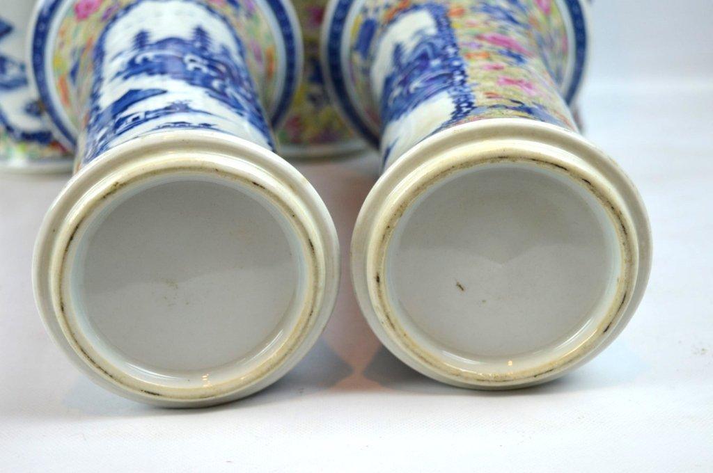 19thC Chinese Export 5-Piece Porcelain Garniture - 8