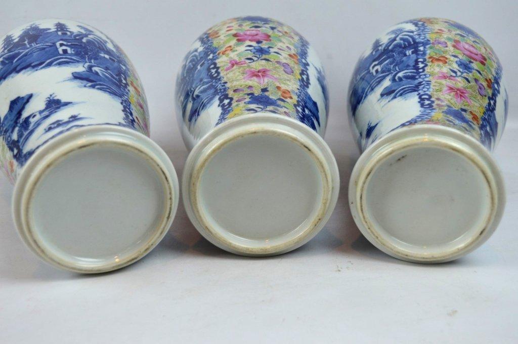 19thC Chinese Export 5-Piece Porcelain Garniture - 9