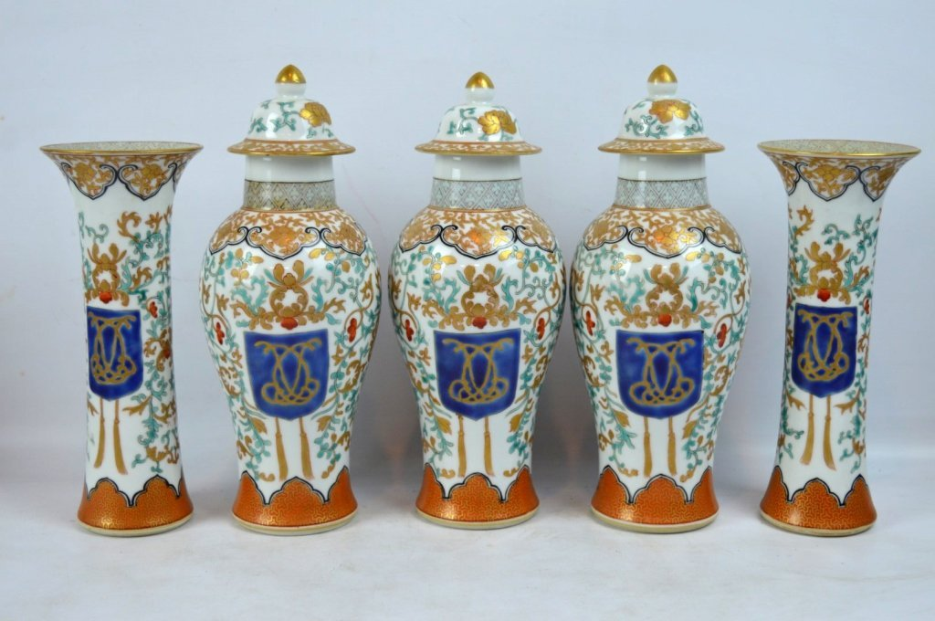 19th C Chinese Export 5-Piece Porcelain Garniture