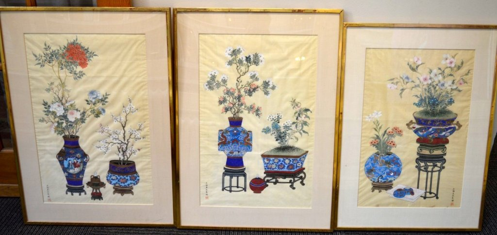 3 - Finely Detailed Chinese Paintings on Silk