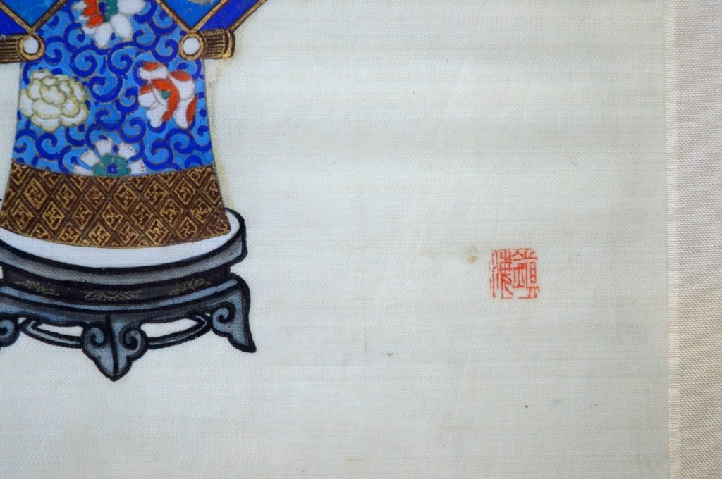 Pair Finely Detailed Chinese Paintings on Silk - 8