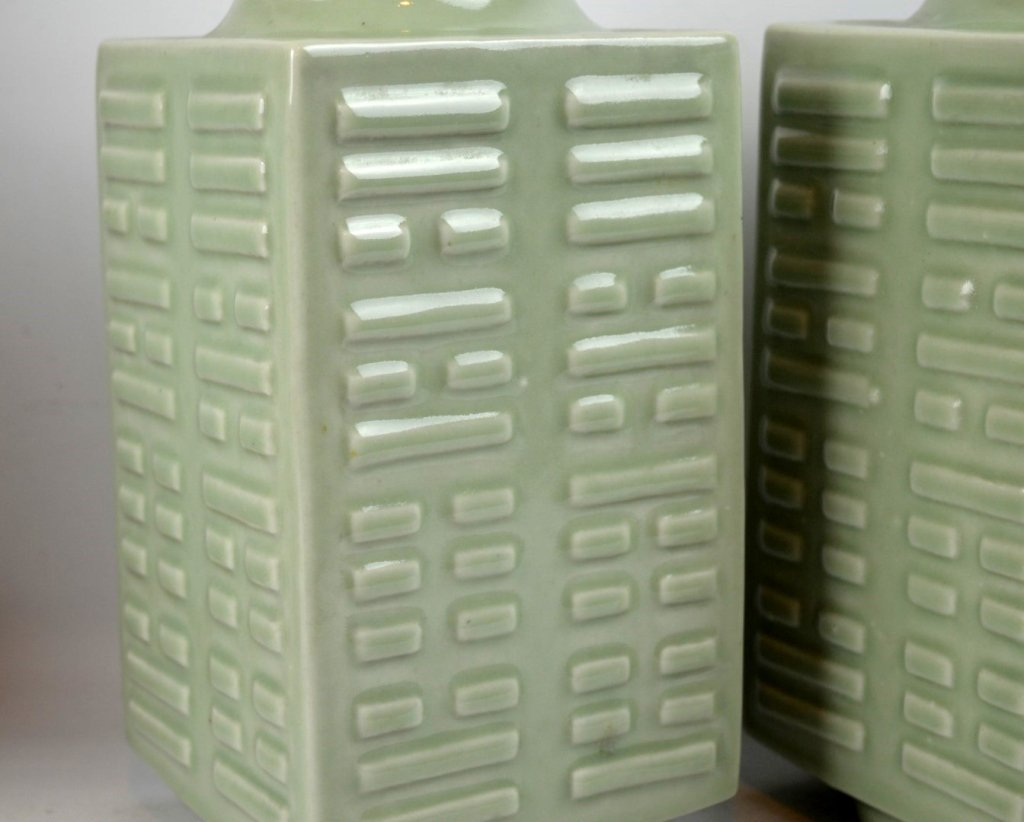 "Pr 19C Chinese Porcelain ""Baguan"" Vases, Guangxu - 4"
