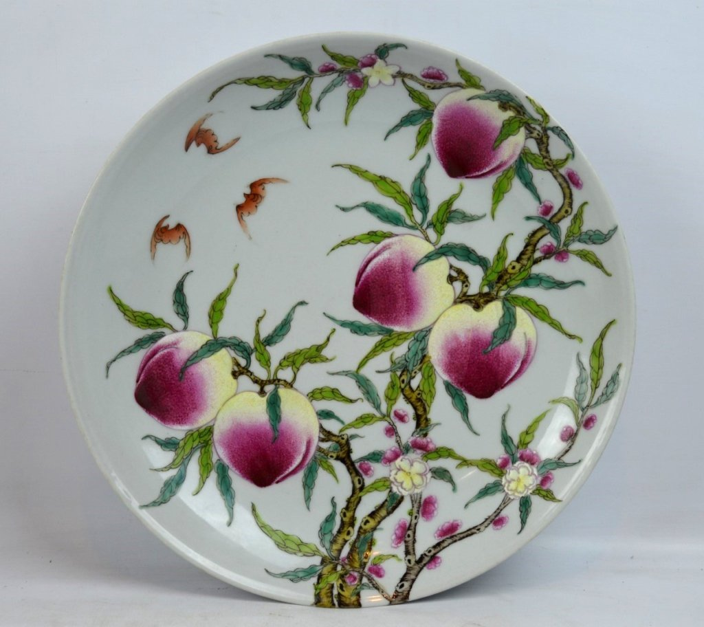 Good Chinese Enameled Porcelain 9 Peaches Plate