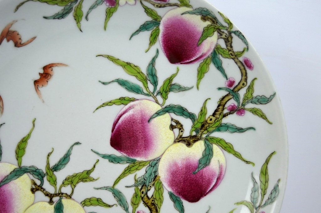 Good Chinese Enameled Porcelain 9 Peaches Plate - 3