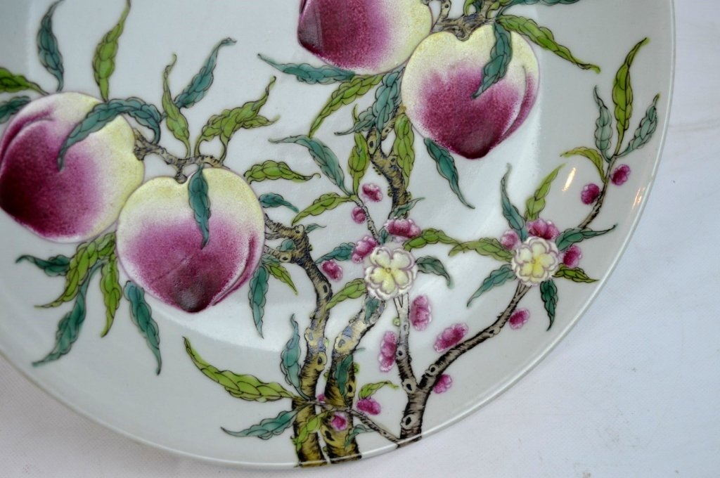 Good Chinese Enameled Porcelain 9 Peaches Plate - 4