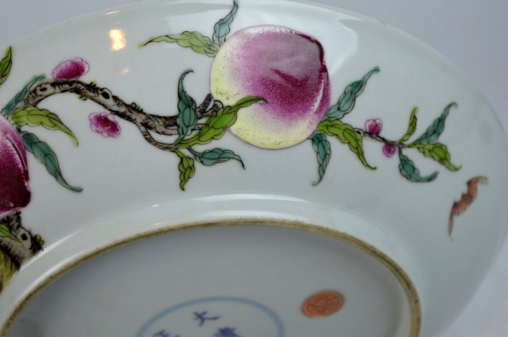 Good Chinese Enameled Porcelain 9 Peaches Plate - 8
