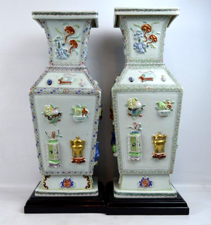 Rare Pair Chinese Early Qianlong Porcelain Vases