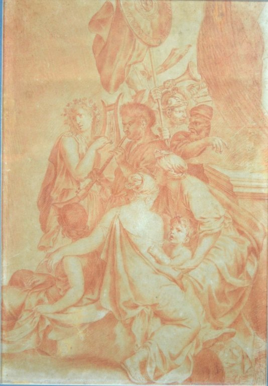 18th C Old Master Drawing in Sanguine on Paper