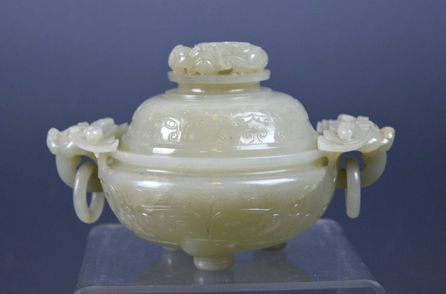 18th Century Chinese Carved Jade Censer & Cover