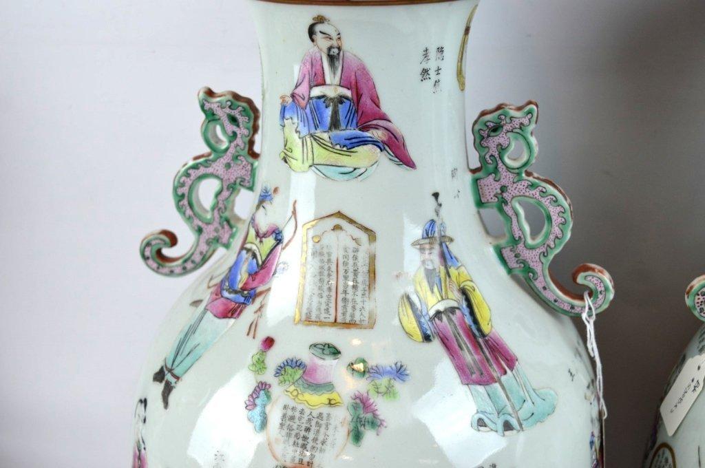 Large Pair 19th C Chinese Enameled Porcelain Vases - 3