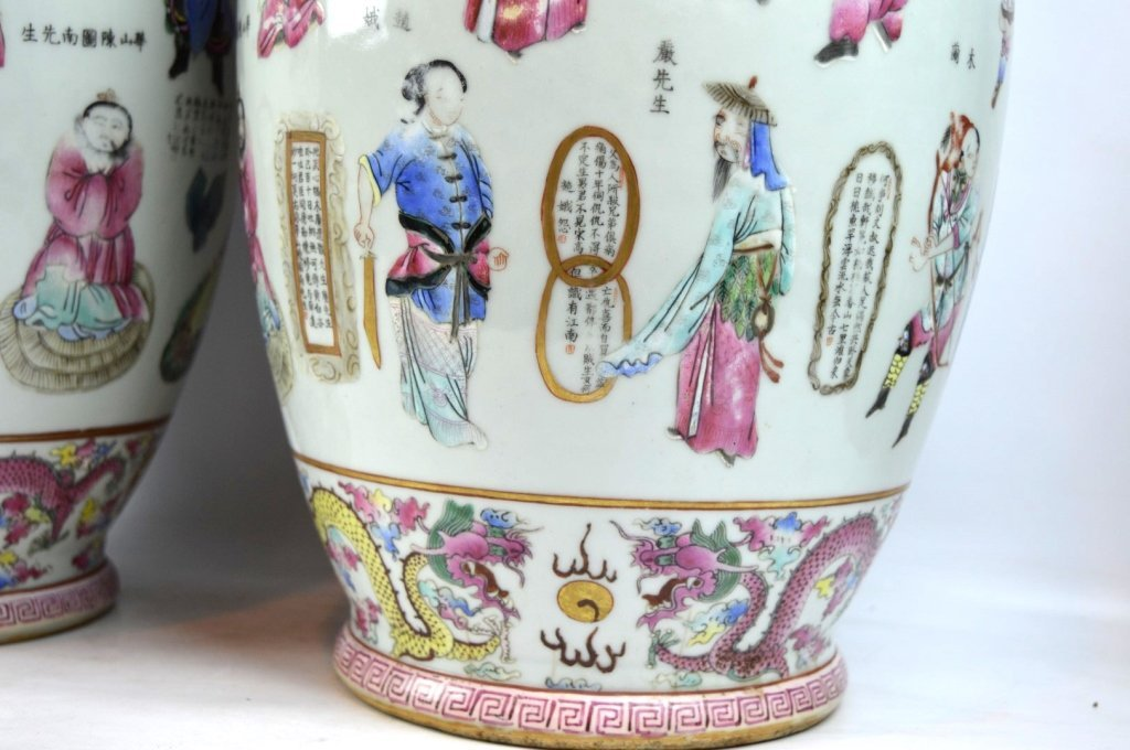 Large Pair 19th C Chinese Enameled Porcelain Vases - 7