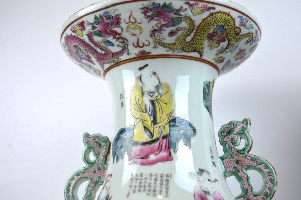 Large Pair 19th C Chinese Enameled Porcelain Vases - 8