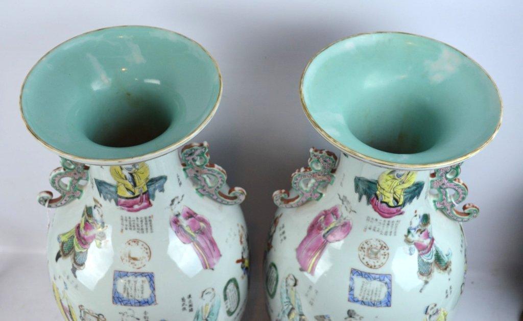 Large Pair 19th C Chinese Enameled Porcelain Vases - 9