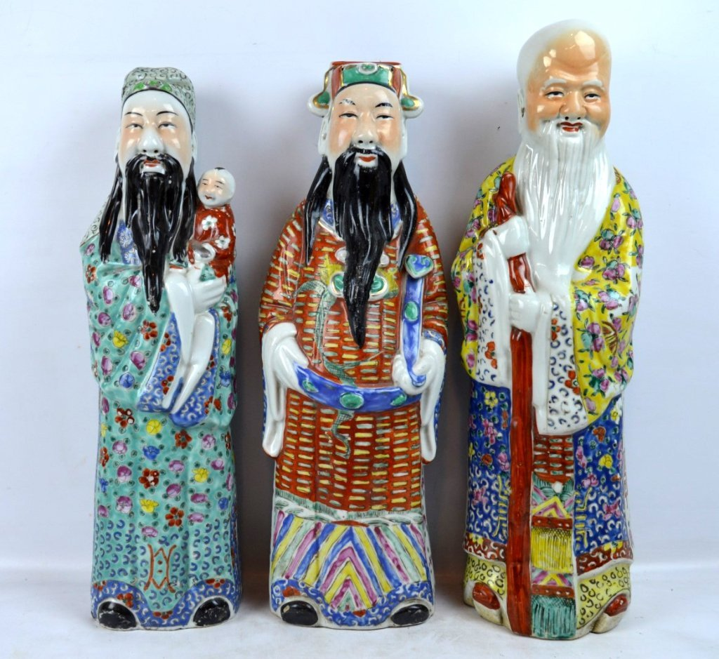 3 - Chinese Republic Porcelain Good Luck Figures