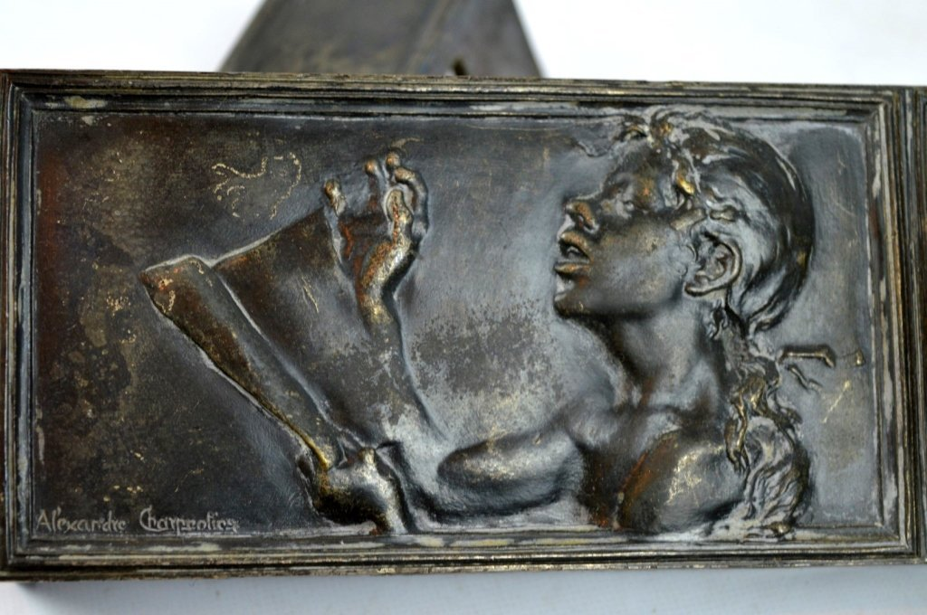 "Charpentier: 1900 Silver-Bronze Plaque ""Le Chant"" - 2"