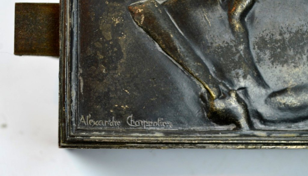 "Charpentier: 1900 Silver-Bronze Plaque ""Le Chant"" - 3"
