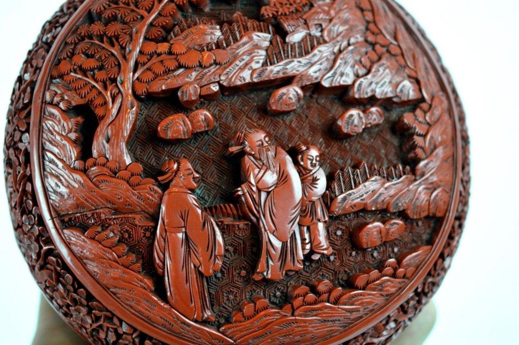 Very Fine 18th/19th C Chinese Cinnabar Lacquer Box - 2