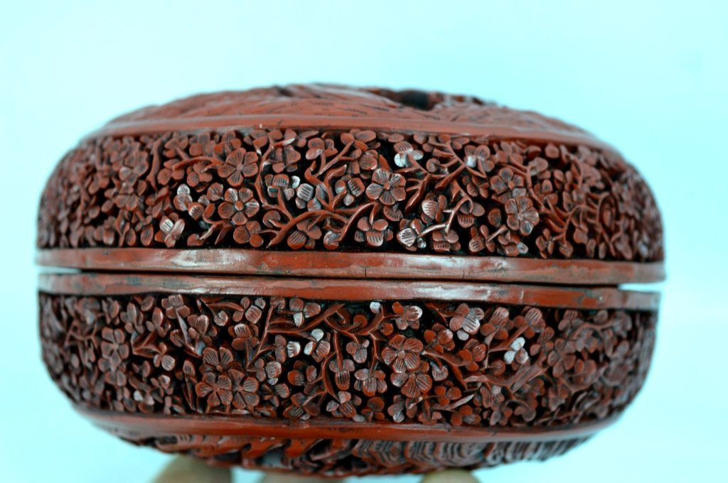 Very Fine 18th/19th C Chinese Cinnabar Lacquer Box - 4