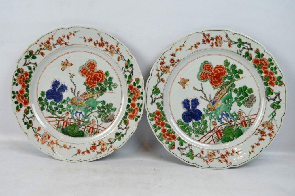 Good Pr Chinese Kangxi Period Famille Verte Plates