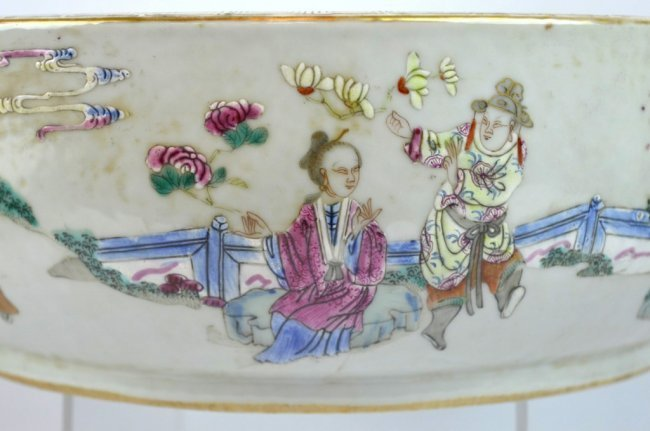 19th C Chinese Enameled Porcelain Deep Bowl - 4